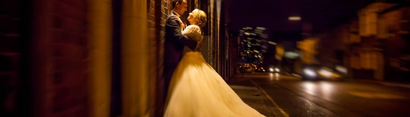 fazely studios, birmingham wedding, urban, wedding, night time shots, bride, groom, female.