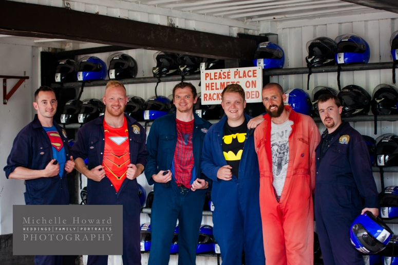 stag do, go carting, book your wedding photographer, photography, fun, racing, super heros, groom, ushers, lads weekend,
