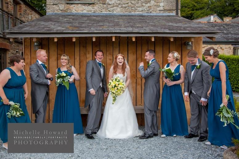 bridal party, fun, creative, cornish wedding, vintage, blue, bride, groom, seaside, coast theme