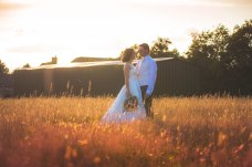 bride, groom, sunset, field, twilight, nuneaton, west midlands wedding photographer, vintage, styling, pink, nature
